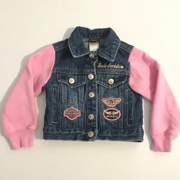 Harley-Davidson Other - Harley-Davidson Jacket Denim 2T Pink Sleeves